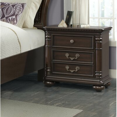 Crescent 3 Drawer Nightstand