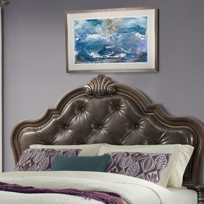 Crescent Upholstered Panel Headboard Size: King