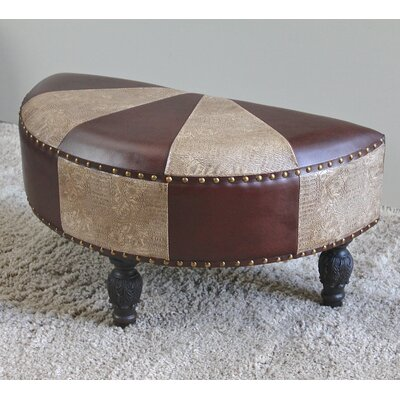 Stone Castle Faux Leather Half-Moon Ottoman