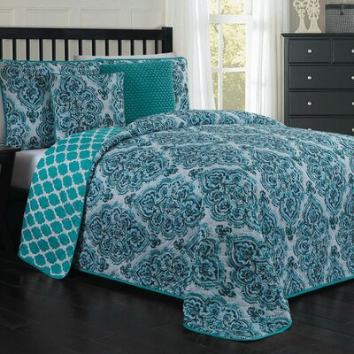 John 5-piece Quilt Set Size: King, Color: Blue