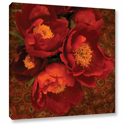 Red Peonies Graphic Art on Wrapped Canvas