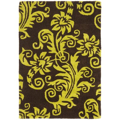 Kirkoswald Hand-Tufted Brown/Green Area Rug Rug Size: 76 x 96