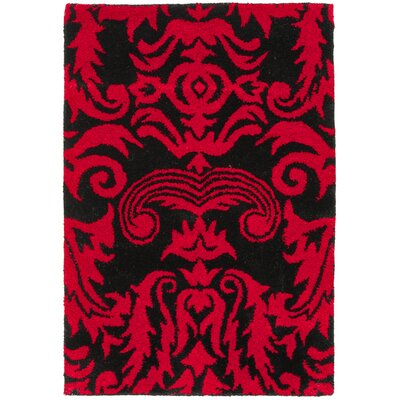 Levens Hand-Tufted Black/Red Area Rug Rug Size: 36 x 56