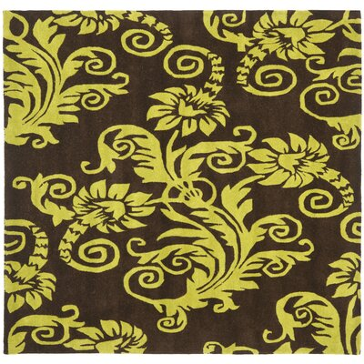 Kirkoswald Hand-Tufted Brown/Green Area Rug Rug Size: Square 6