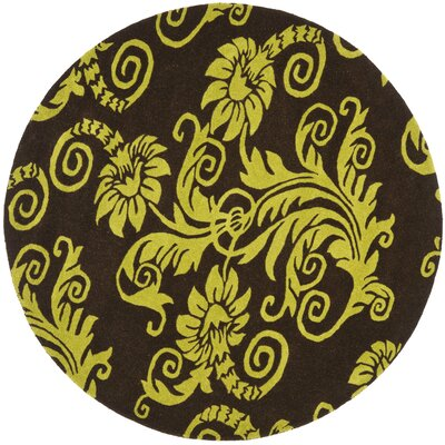 Kirkoswald Hand-Tufted Brown/Green Area Rug Rug Size: Round 6