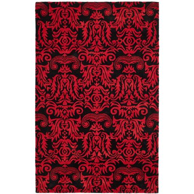 Levens Hand-Tufted Black/Red Area Rug Rug Size: 5 x 8