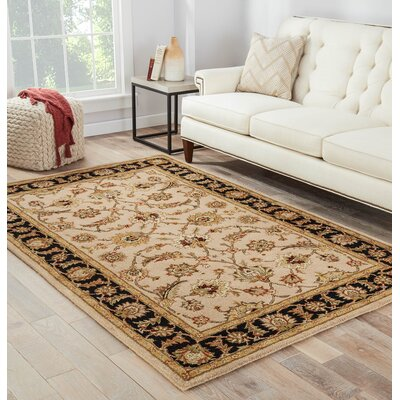 Wetheral Beige/Ebony Area Rug Rug Size: Rectangle 4 x 6
