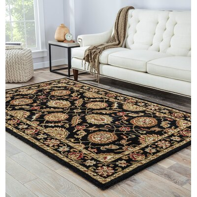 Wetheral Black/Red Area Rug Rug Size: Round 10