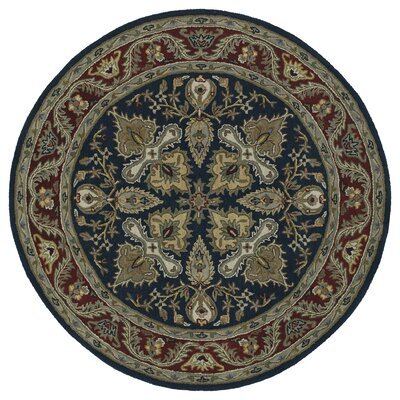 Quays Navy Blue Area Rug Color: Round 99, Rug Size: Round 59
