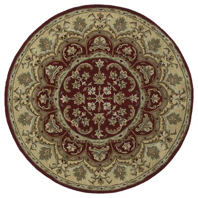 Quays Burgundy Area Rug Rug Size: Round 59, Color: Round 99
