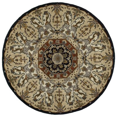 Quays Black Area Rug Color: Round 99, Rug Size: Round 99