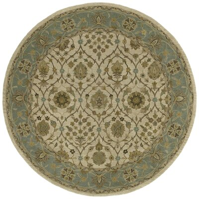 Quays Green/Tan Area Rug Rug Size: Round 59