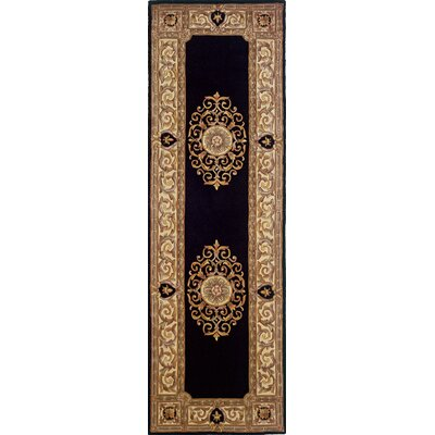Gansevoort Hand-Tufted Black/Light Brown Area Rug Rug Size: Runner 26 x 8