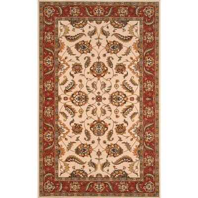 Forrestal Ivory/Crimson Area Rug Rug Size: Rectangle 5 x 8