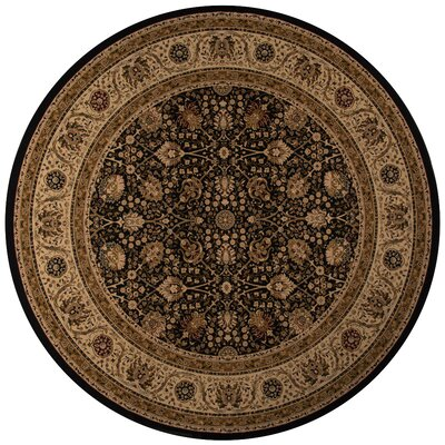 Mira Monte Black/Brown Area Rug Rug Size: Round 710
