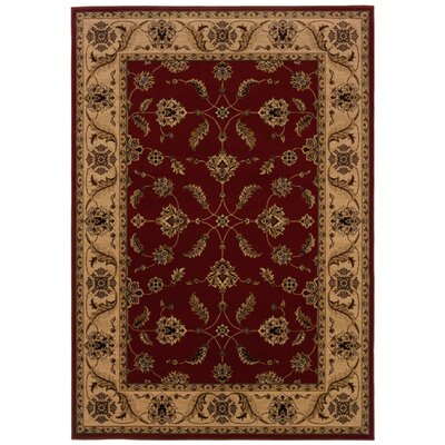 Jasper Red/Ivory Area Rug Rug Size: Rectangle 53 x 76