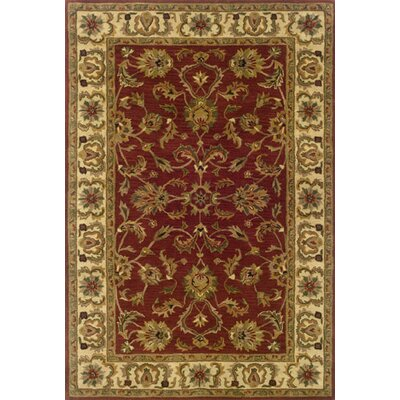 Vinoy Hand-made Red/Ivory Area Rug Rug Size: Round 76