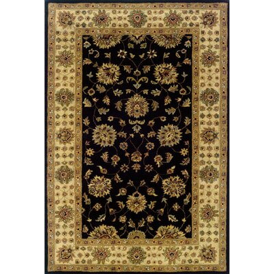 Vinoy Hand-made Black/Ivory Area Rug Rug Size: Rectangle 36 x 56