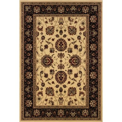 Shelburne Traditional Ivory/Black Area Rug Rug Size: Rectangle 53 x 79