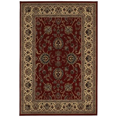 Shelburne Traditional Red/Ivory Area Rug Rug Size: Rectangle 53 x 79
