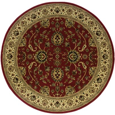 Shelburne Traditional Red/Ivory Area Rug Rug Size: Round 6