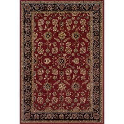 Shelburne Traditional Red/Black Area Rug Rug Size: Round 6