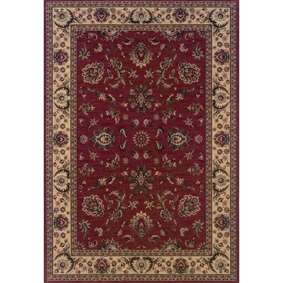 Shelburne Traditional Red/Ivory Area Rug Rug Size: 53 x 79