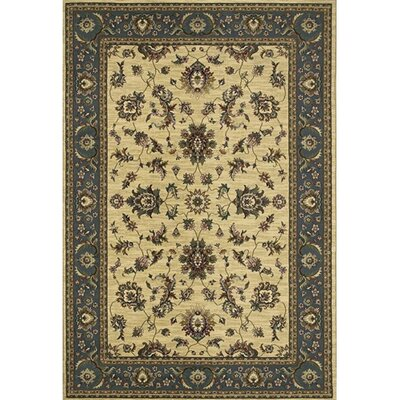 Shelburne Traditional Ivory/Blue Area Rug Rug Size: 53 x 79