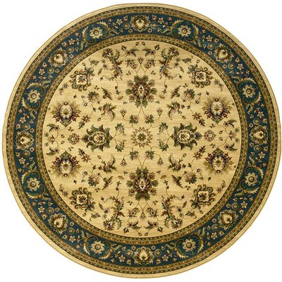 Shelburne Traditional Ivory/Blue Area Rug Rug Size: Round 6