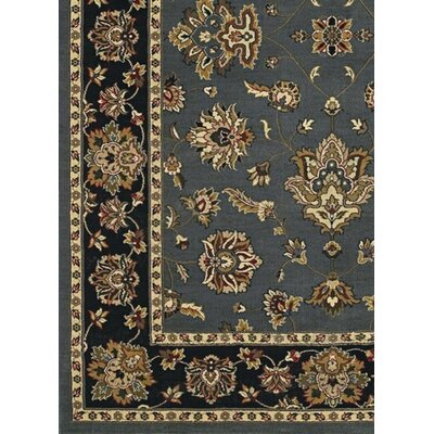 Shelburne Floral Blue/Black Area Rug Rug Size: Square 8'