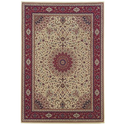 Shelburne Traditional Ivory/Burgundy Area Rug Rug Size: Round 6'