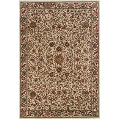 Shelburne Traditional Ivory/Green Area Rug Rug Size: 53 x 79