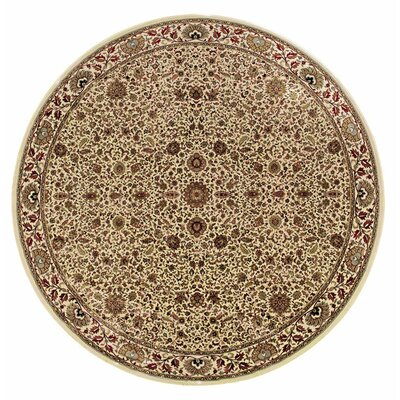 Shelburne Traditional Ivory/Green Area Rug Rug Size: Round 6'