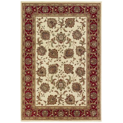 Shelburne Ivory/Red Area Rug Rug Size: 53 x 79