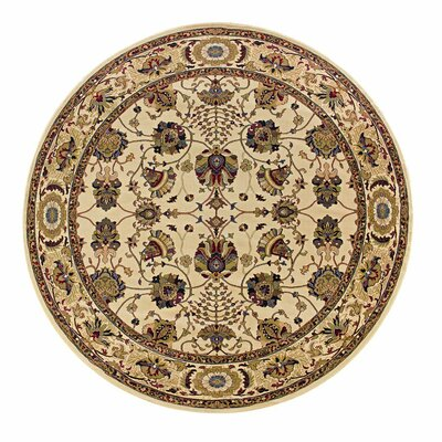 Shelburne Floral Ivory/Red Area Rug Rug Size: Square 8