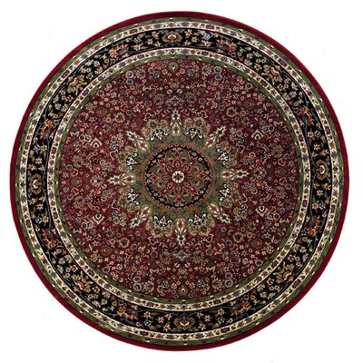 Shelburne Traditional Red/Blue Area Rug Rug Size: Round 6'