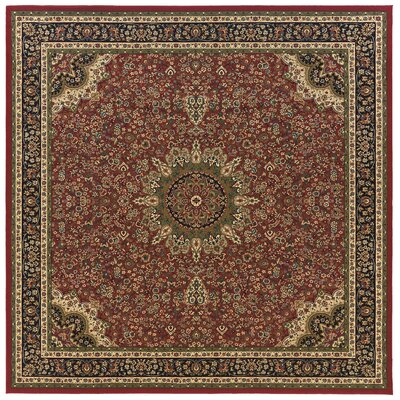 Shelburne Traditional Red/Blue Area Rug Rug Size: Square 8