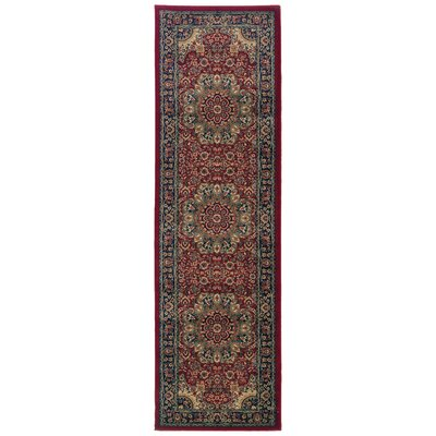 Shelburne Traditional Red/Blue Area Rug Rug Size: Runner 23 x 79