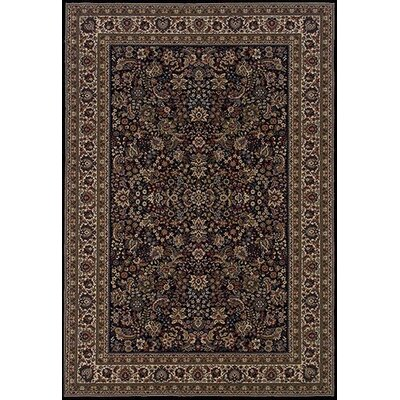 Shelburne Traditional Black/Ivory Area Rug Rug Size: 53 x 79