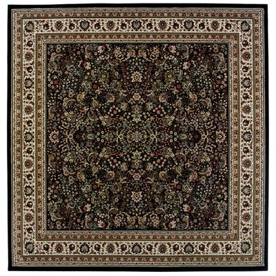 Shelburne Traditional Black/Ivory Area Rug Rug Size: Square 8