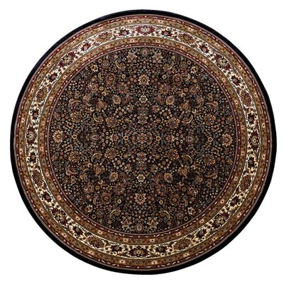 Shelburne Traditional Black/Ivory Area Rug Rug Size: Round 8