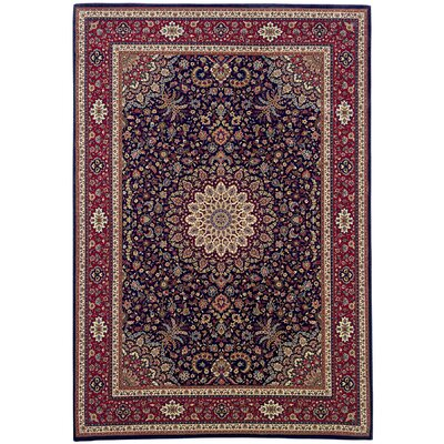 Shelburne Traditional Blue/Red Area Rug Rug Size: Round 6