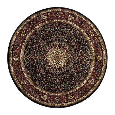 Shelburne Traditional Brown/Red Area Rug Rug Size: Round 6