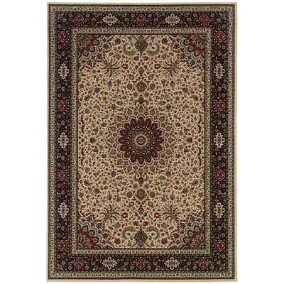 Shelburne Traditional Ivory/Black Area Rug Rug Size: 67 x 96
