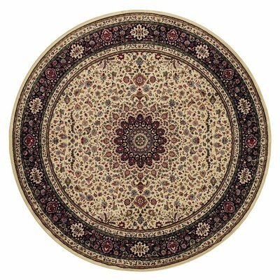 Shelburne Traditional Ivory/Black Area Rug Rug Size: Round 6