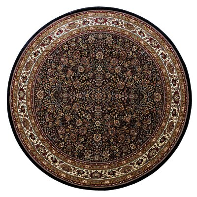 Shelburne Traditional Blue/Red Area Rug Rug Size: Round 8