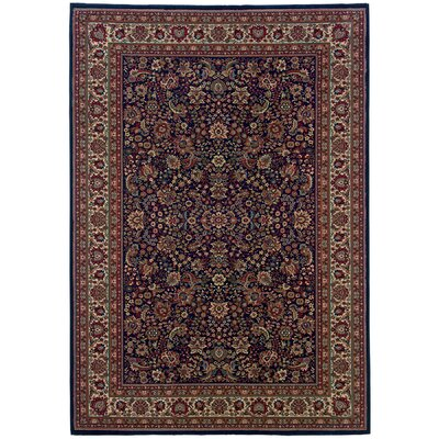 Shelburne Traditional Blue/Red Area Rug Rug Size: 53 x 79