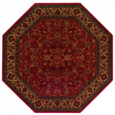 Chivers Yellow/Crimson Area Rug Rug Size: Octagon 53