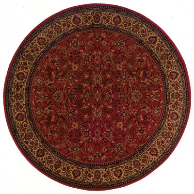 Chivers Yellow/Crimson Area Rug Rug Size: Round 53