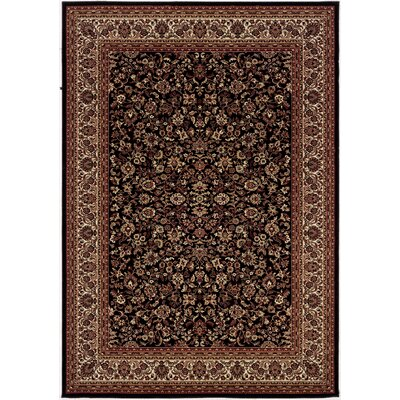 Cipriani Isfahan Black/Brown Area Rug Rug Size: Rectangle 53 x 76